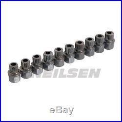 10 Pc BMW Wheel Master Locking Nut Set (1 2 3 4 5 6 7 X series)