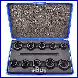 10pc 3/8 Bolt Nut Twist Socket / Wheel Lock Nut Remover / Extractor Set