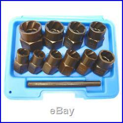 11pc Twist Sockets Locking Wheel Nut Remover Broken Studs Rounded Bolts Non Slip