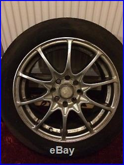 15 Alloy Wheels with tyres, centre Caps, locking Nuts Very Good Condition