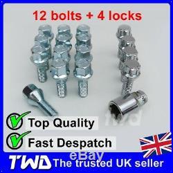 16x ALLOY WHEEL BOLTS + LOCKS FOR FIAT 500 SECURITY LUG STUD SCREW NUTS C3b