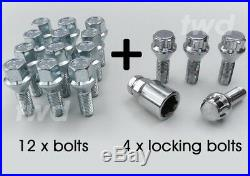 16x WHEEL BOLTS + LOCKS FOR PEUGEOT WITH AFTERMARKET ALLOYS LUG STUDS NUTS C3b