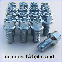 20 x ALLOY WHEEL BOLTS + LOCKS FOR AUDI (M14x1.5) RADIUS SEAT STUD NUTS bR4b