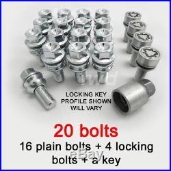 20x ALLOY WHEEL BOLTS + LOCKING SET PORSCHE 911 996 997 991 STUD LUG NUT T4e