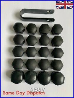 20x VW Audi Seat Skoda 17mm Black Nut Caps Covers Wheel Bolts + 4x Locking Nuts