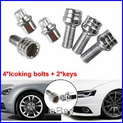 4+2 Locking Wheel Nuts Bolts Studs Radius Security Key for AUDI A3 A4 A5 A6