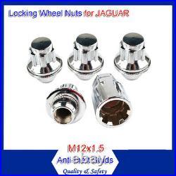 4 Jaguar X-type / S-type XJ XF XK Alloy Locking Wheel Nuts Bolts 12x1.5mm Flat