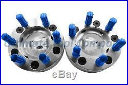 4 Pc 5x5 to 6x135 2 Wheel Conversion Adapter Kit with Blue 7 Spline Lock Nut Set