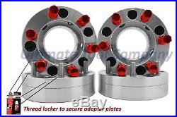 4 Pc 5x5 to 6x135 2 Wheel Conversion Adapter Kit with Red 7 Spline Lock Nut Set