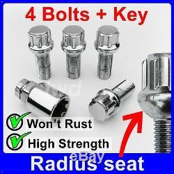 4 x ALLOY WHEEL LOCKING BOLTS FOR AUDI (M14x1.5) RADIUS SECURITY LUG NUTS bR0b