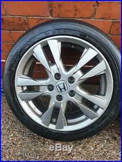 4x 17 Original Honda Alloy Wheels, Tyres And Nuts + locking nuts