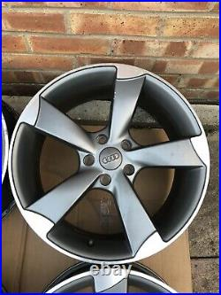4x AUDI ROTOR ALLOY WHEELS 18x8J WITH BOLTS AND LOCKING NUTS 5x112