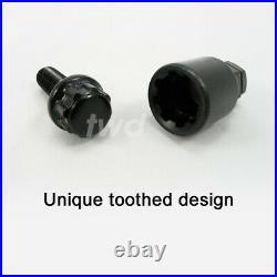 4x BLACK ALLOY WHEEL LOCKING BOLTS FOR NISSAN QASHQAI (2013+) M12x1.5 NUT Tb