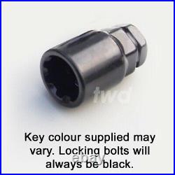 4x WHEEL LOCKING BOLTS SAAB 9-3 / 9-5 ALLOY BLACK NUT STUD LUG SECURITY Tb
