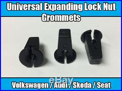 50x Expanding Lock Nut Grommets For VW Audi Skoda Wheel Arch Bumper Panel Black
