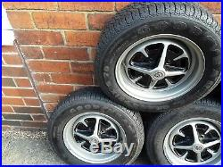 5 x MG Midget Rostyle Wheels and Tyres, used, with locking nuts
