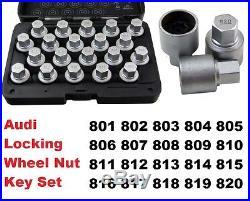 AUDI 20pc MASTER LOCKING WHEEL NUT KEY SET Sizes 801 to 820 for OEM Bolts