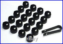 AUDI A1 A2 A3 A4 A5 A6 A7 A8 TT 17mm BOLT WHEEL NUT COVERS LOCKING CAPS BLACK