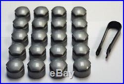 AUDI A1 A2 A3 A4 A5 A6 A7 TT 17mm BOLT WHEEL NUT COVERS LOCKING CAPS ALLOY GREY