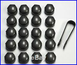 AUDI A1 A2 A3 A4 A5 A6 A7 TT 17mm BOLT WHEEL NUT COVERS LOCKING CAPS DARK GREY