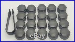 AUDI A1 A3 A4 A5 A6 A7 A8 TT 17mm WHEEL NUT COVERS LOCKING BOLT CAPS MATTE GREY
