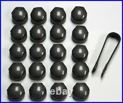 AUDI A1 A3 A4 A5 A6 A7 A8 TT 17mm WHEEL NUT COVERS LOCKING BOLT CAPS OEM GREY