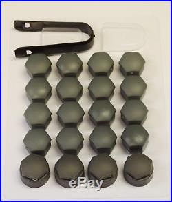 AUDI A1 A3 A4 A5 A6 A7 Q5 GREY WHEEL NUT BOLT COVERS LOCKING CAPS 17mm x20 NEW 2