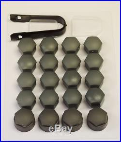 AUDI A1 A4 A5 A6 A7 A8 Q3 GREY WHEEL NUT BOLT COVERS LOCKING CAPS 17mm x20 2