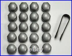 AUDI A2 A6 A7 A8 TT Q3 Q5 Q7 17mm WHEEL NUT BOLT COVERS LOCKING CAPS ROUND GREY