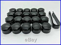 AUDI A2 A6 A7 A8 TT Q3 Q5 Q7 17mm WHEEL NUT COVERS LOCKING BOLT CAPS MATTE BLACK