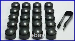 AUDI A2 A6 A7 A8 TT Q3 Q5 Q7 17mm WHEEL NUT COVERS LOCKING BOLT CAPS OEM GREY