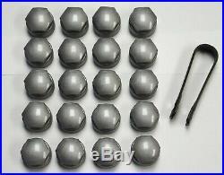AUDI A6 A7 A8 TT R8 Q2 Q3 Q5 Q7 17mm BOLT WHEEL NUT COVERS LOCKING CAPS GREY