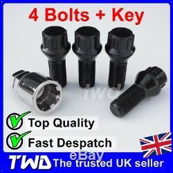 BLACK ALLOY WHEEL LOCKING BOLTS FOR BMW 5-SERIES (2010+) F10 F11 LUG NUTS SBXb