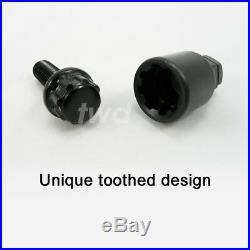 BLACK ALLOY WHEEL LOCKING BOLTS FOR BMW (M14x1.25) 14MM SECURITY LUG NUTS SBXb
