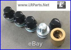 Black Alloy Wheel Locking Nuts For Discovery 3 & 4 Set 4 Locks Rrb500100black