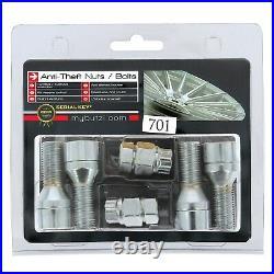 Butzi 14x1.50 L28 Chrome Anti Theft Locking Wheel Nut Bolts & 2 Keys for Audi A5