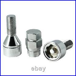 Butzi Chrome Anti Theft Locking Wheel Nut Bolts & 2 Keys Set for Seat Alhambra