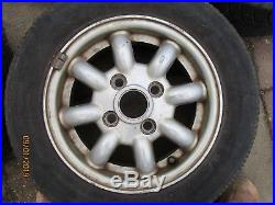 Classic Mini Cooper Alloys Wheels with caps and new nuts, locking nuts, set of 5