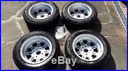 Classic Mini JBW Minilite Alloy Wheels 12 with tyres, nuts & locking wheel nuts