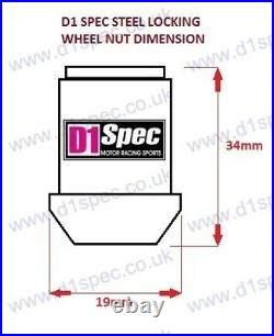 D1 SPEC LOCKING WHEEL NUTS SV/BLACK 1.5 Mazda Lexus Toyota Honda Mitsubishi Ford