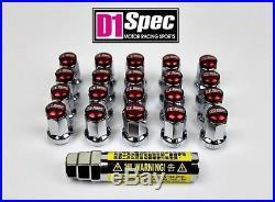 D1 SPEC LOCKING WHEEL NUTS SV/RED P1.5 Mazda Lexus Toyota Honda Mitsubishi Ford