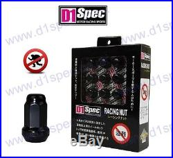 D1 Spec Locking Wheel Nuts Black P1.25 200sx 350z Skyline Swift Impreza Wrx