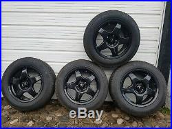 Dynamics black alloy wheels 15 with tyres 195/65, with rubber seal locking nuts