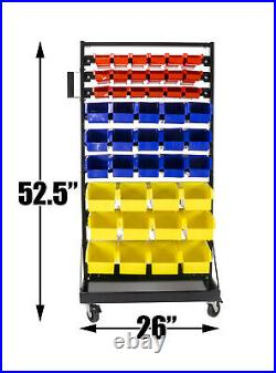 Erie Tools 90 Bin Parts Storage Rack Locking Wheels for Shop Garage Nut Bolt