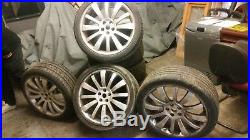 Four Range Rover Wheels And Tyres And Locking Wheel Nuts