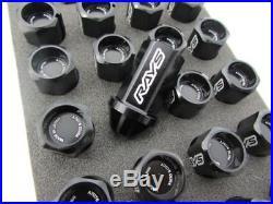 GENUINE Dura RAYS wheel Lock & Nut Set 42mm For 5H Black M12 x 1.25 R32 GTR