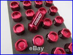 GENUINE Dura RAYS wheel Lock & Nut Set 42mm For 5H RED M12 x 1.25