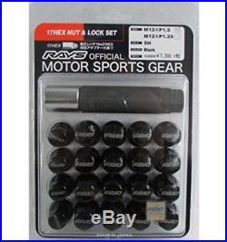 GENUINE RAYS 17HEX Wheel Nuts & Lock Nut Set 31mm For 5H BLACK M12x1.5 Honda