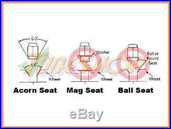 KICS R26 BLACK LOCK LUG NUTS 12x1.25 1.25 FLOATING SEAT ACORN WHEELS RIMS OPEN N
