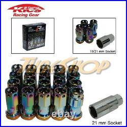 KICS R40 ICONIX NEO-CHROME W LOCK LUG NUTS 14x1.5 M14 FLOATING ACORN WHEELS RIM